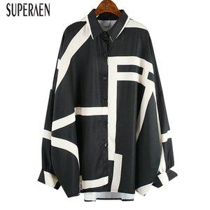 SuperAen 2020 Primavera novas mulheres camisas Selvagem Moda Casual Ladies Blusas e Tops Pluz Size Bat Asa Mulheres manga Vestuário