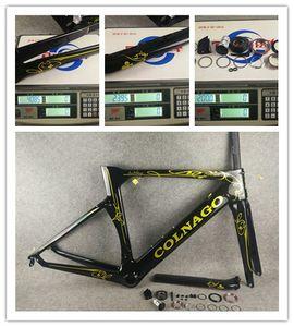 Altın Colnago Konsept Tam karbon fiber yol bisikleti çerçeve karbon bisiklet çerçevesi BB386 boyut bitirmek parlak / mat