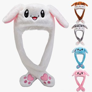 Kids Cute Plush Rabbit Pinching Bunny Ear Hat Can Move Airbag Cap Toy Gift for Kids Girls Girlfriend Women Hats & Caps Hats, Scarves & Glove