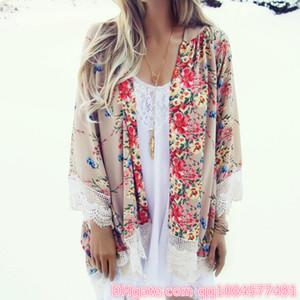 Yeni Kadınlar Dantel Püskül Çiçek deseni Şal Kimono Hırka Stil Gündelik Kroşe Dantel şifon Coat Cover Up Bluz