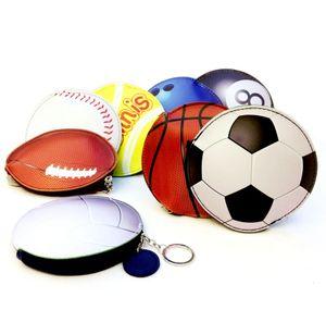 Basketball Coin Purse Baseball Football Bags Keychains Cartoon Wallet PU Sports Pocket Change Money Bag Key Card Holder Party Favor GGA1890