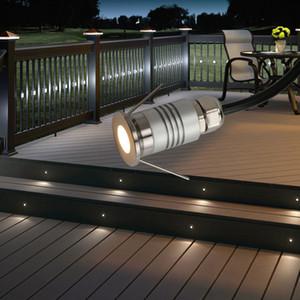 12V 1W Mini Встраиваемый светодиодный Открытый сад палубы шаг лестницы пол Пятно света Ламинат Лампа Терраса освещения IP65 Прожектор Водонепроницаемый