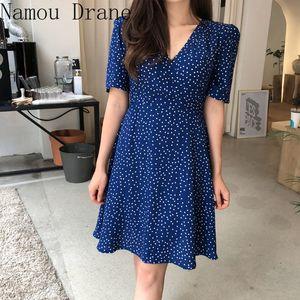 Korean Style Design Holiday Date Elegant Office Lady Chic Dress CuteSummer Dot Dresses Hot Sales Women