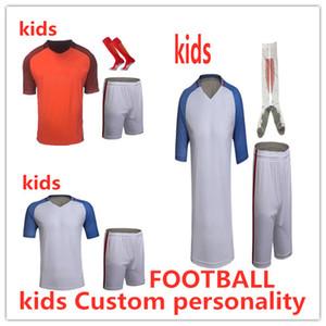 Crianças Conjuntos De Camisolas De Futebol Survetement Kits De Futebol criança DIY Impressão Personalizado Personit Futbol Formação Uniformes Baratos Conjunto Terno De Treinamento De Futebol