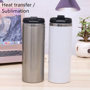 Sea shipping 420ml double wall stainless steel sublimation heat transfer water bottle insulated tumbler coffee mug with flip lid