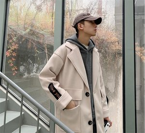 Adolescent Hommes Designer Coats Je Mode comme vous broderie veste à manches d'hiver Laine Casual Manteaux Blends