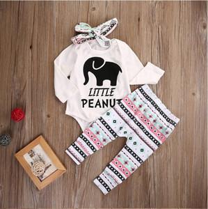2019 новорожденных девочек одежда горячей продажи слон ползунки + брюки + оголовье 3 шт. костюм новорожденный девочка комплект одежды