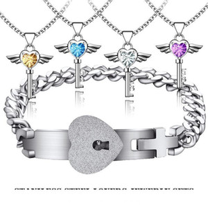 Stainless Steel Lovers Engagement Joyas Heart Lock Bracelet Love Key Shiny Rhinestone Pendant Necklace Couples Jewelry Set Wedding Gifts