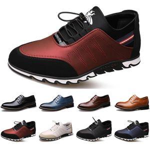 2020 New Arrival Designer men leather casual shoes black navy blue brown Business fashion platform flat party mens trainers sneaker color8