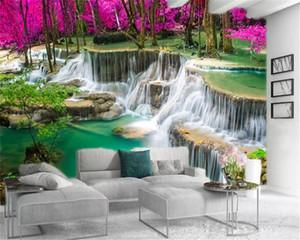 Пользовательские 3d пейзаж обои Большой водопад в Фэнтези Розовый лес Настройка Красивые шелкового Mural обои