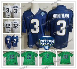 Personalizzato 2019 UND qualsiasi nome Numero Blu Bianco Verde Jersey # 3 Joe Montana 6 Jerome Bettis 12 Ian Prenota 86 Alize Mack Boykin