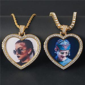 El hip hop joyería por encargo de la foto del corazón medallones collar colgante de acero inoxidable color oro circón Hombres