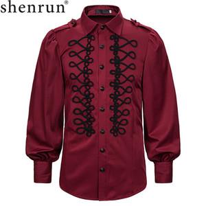 Shenrun Männer Shirts Langarm Retro viktorianischen Royal Court Shirt Figurbühnenkleid-Kostüm Drama-Host-Sänger Aufführung