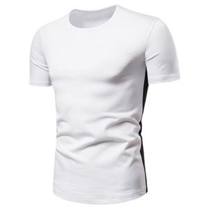 Mens Fashion T Shirt Designer Side Striped Natural Color T Shirt Casual Short Sleeve Slim Tees