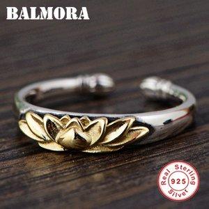 Balmora Solid 925 Sterling Silver Lotus Fiore Anelli Aperti Per Le Donne Uomini Regalo Retro Anello Gioielli In Argento Sterling Anillos Sy22078 T190624
