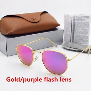 Nuovo stilista di alta qualità occhiali da sole di marca protezione retro dell'occhio YXVAXL cornice d'oro lente in vetro lampo viola box di protezione UV400 marrone