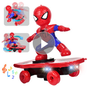 Party Favors Revengers Marvels Spider Man giocattolo elettronico Stunt scooter automatico di musica di vibrazione elettrica Skateboard Stunt Car Bambini