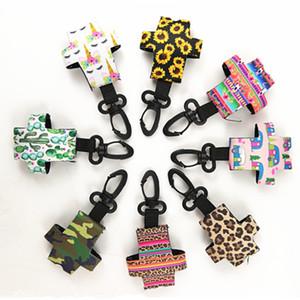 Porte-clés portable en néoprène pour 30ml Désinfectant pour les mains mini bouteille Couverture néoprène Holder Unicorn Stripe Cactus imprimés Porte-clés Cadeaux