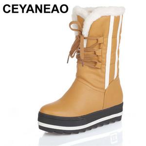 CEYANEAO Plate-forme Plate Femmes Bottes De Neige Étanche Hiver Chaussures Chaudes Casual En Cuir En Peluche Bottes Mi-Mollet Féminin Plus La Taille Chaussures