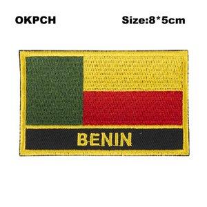Envío gratis 8 * 5 cm Benin forma México bandera bordado hierro en parche PT0033-R