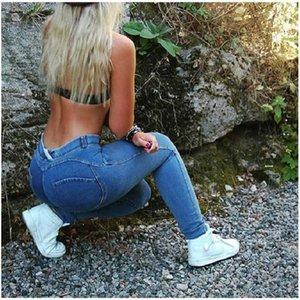 Buttock Jeans moda Slim pantalones largos mujer Causal pantalones envío gratis mujeres diseñador Jeans alta cintura melocotón