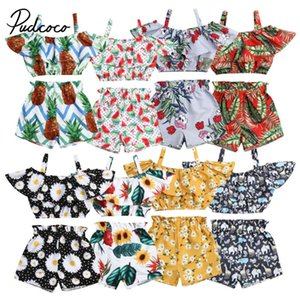 pudcoco 2019 ragazza del bambino vestiti 2pcs neonato bambino vestiti della ragazza Sling Tops + stampa floreale Shorts 2pcs Outfits