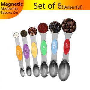 6 Stück / Set Edelstahl Doppelkopf Messlöffel Magnetische Mess Teaspoon Eßlöffel für trockene und flüssige Zutaten