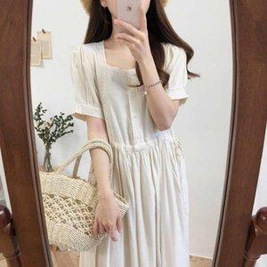 Женщины лето квадратный воротник хлопок белье кружева длинная рубашка платье высокая талия шнурок девушки сплошной цвет платья с пуговицами