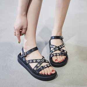 2019 Women Platform Sandals Summer Rivet Pu Leather Gladiator Sandals Peep Toe Buckle Strap Casual Shoes Black Sandalias Mujer