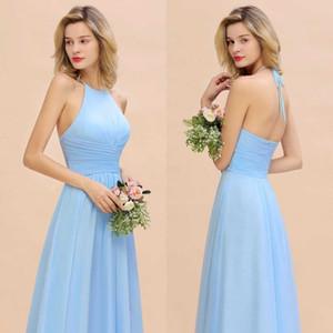 Sky Light Blue Longo Chiffon Bainha Vestidos dama de honra Com Zipper Voltar simples Halter casamento Vestidos comentários Com as costas abertas