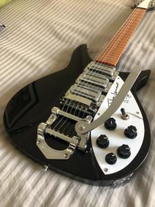 China Ric 325 Preto Guitarra 21 Frets John Lennon assinatura com B500 Big Tremolo 3 Torradeira Pickups guitarra elétrica