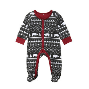 Yenidoğan Bebek Erkekler Kızlar Noel Pamuk Bodysuit Pijama Ayaklı Giyim Kıyafetler / BL15