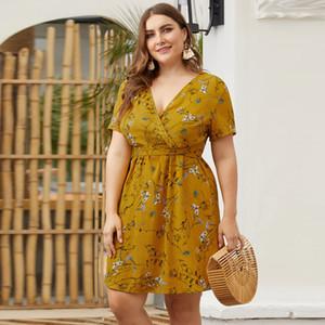 Mulheres plus size verão férias dress bohemian sexy slim dress impressão floral cruz plissada mini party beach dress vestidos mujer