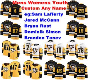 Pittsburgh Penguins Jerseys Womens Sam Lafferty Jersey Brandon Tanev Dominik Simon Rust McCann Ice Hockey Jerseys Customize Stitched