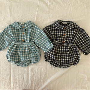 Fall Newest INS Summer Kids Baby Boys Girls Plaid Suits Front Buttons Tatting Cotton Tees + Shorts 2pieces Bountique Clothes