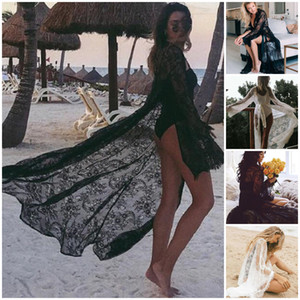 Mulheres Lace oco Crochet Biquini Long Sleeve Cover Up Beach Dress Sarongs Kaftan