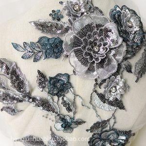 Handmade grey Beads 3D Wedding bridal Dress Applique DIY Bridal Headdress scarf veil Embroidered Lace Fabric Patch