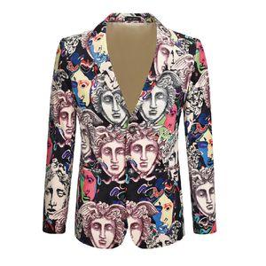Giacca lusso di modo giacca sportiva 3D Stampato uomo velluto tessuto d'oro di alta qualità del vestito Attore Cantante DJ organizza