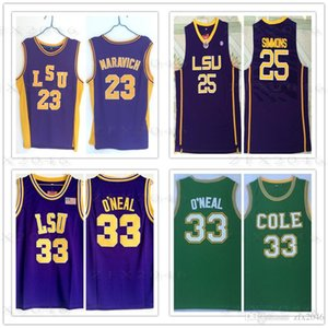 NCAA LSU Tiger 23 Pete Maravich jersey Shaquille 33 O'neal 25 Simmons Purple Yellow White backetball jerseys College مخيط Logos Ben Shaq