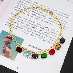 Mulheres colares de jóias de luxo Cubic Zircon festa de casamento branca banhado a ouro Choker mulheres Colar 3 colores