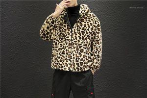 Tasche Männer Kleidung Leopard-Druck-Herren Designer Jacken Mode Warm Panelled Mens Zipper mit Kapuze Jacken beiläufige