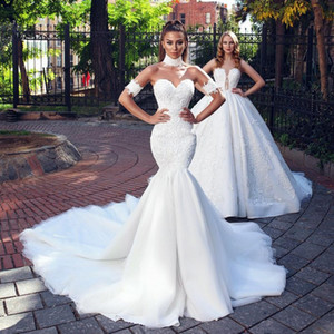 2019 mode Meerjungfrau Spitze Brautkleider Schatz Neck Plus Size Backless Brautkleid Kapelle Zug Trompete Perlen Vestidos De Novia