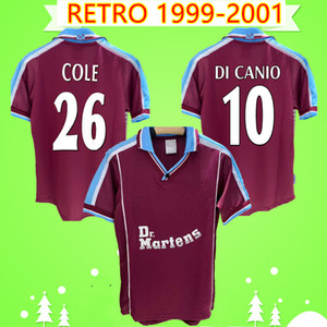 West Ham United jersey 1999 2000 2001 Retro Cole DI CANIO Lampard Dicks maison maillot de football rouge camiseta classique 99 00 01 maillot de football Vintage