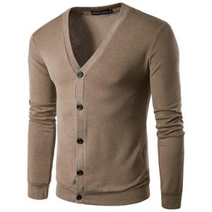 Дизайнерские Мужские Твердые Свитера Однобортный V-образным Вырезом Тонкий Кардиган Ткань Homme Мода Осень Повседневная Топы