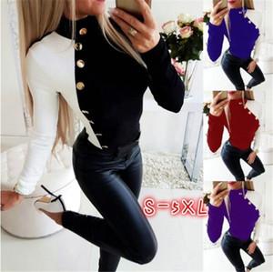 Collo a maniche lunghe Pulsante Baske Collar Tops Autunno Abbigliamento Donna Abbigliamento Designer Designer Designer Pannelli casuali