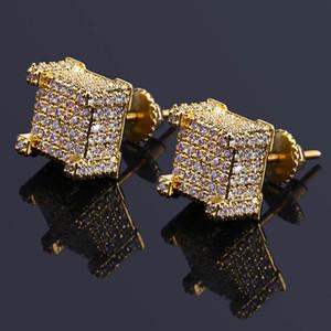 Pendientes de lujo de moda para los hombres de Hip Hop Grado de calidad 18 K chapado en oro de cobre cuadrado Zircon Stud pendientes 925 de plata tapones para los oídos LER047