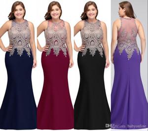 New Plus Size sirena del vestito da sera Abiti da sposa Robe de soirée abiti da sera Prom Dresses Con appliquéd Illusion Indietro CPS525