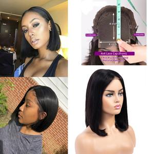 4x4 Dentelle Fermeture Bob Perruques droit brésilien perruques de dentelle frontale de cheveux humains non transformés de cheveux humains couleur nature 9A année