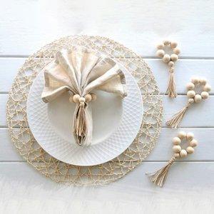 4PCS Wall Hanging Decorative Ornaments Wood Bead Garland Napkin Rings Tassels Rustic Napkin Holder Ring