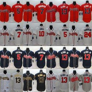 Atlanta 2020 Джерси бейсбол 13 Ronald Акуна Jr Джерси 5 Freddie Freeman 7 Dansby Swanson 24 Deion Sanders 03